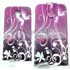 PURPLE BUTTERFLY PRINT PU LEATHER FLIP POUCH CASE COVER FOR SAMSUNG GALAXY S4