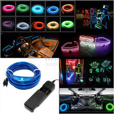 Neon LED Light Car Glow EL Wire String Strip Rope Tube  Dance Party + Controller