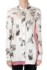 CELINE New Woman white Print Silk Blouse Made in France NWT