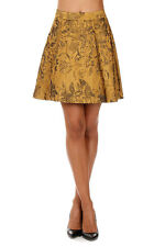 ALICE+OLIVIA New Woman Gold Floral Print Mini skirt Pleated NWT