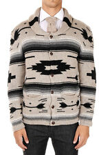 SAHAJA New Men Beige Knitted Cardigan Cashmere Print Made in USA NWT