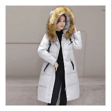 Winter Cloth Fur Collar Middle Long Down Coat Plus Size Slim   grey