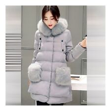 Winter Woman Plus Size Fur Collar Middle Long Down Coat Cloth   grey