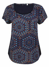 NEW FAT FACE DARK BLUE FLORAL GEOMETRIC PRINT BLOUSE TUNIC TOP SIZE 6 8