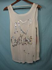 "NWT Juicy Couture White  Womens Bar Back Tank Top Shiny "" I Heart Couture """
