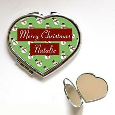 New Heart / Square Personalised Christmas Snowman Compact Make Up Mirror Gift
