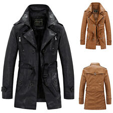 Stylish Men's Slim Trench Coat Winter Long Jacket Fleece PU Leather Overcoat