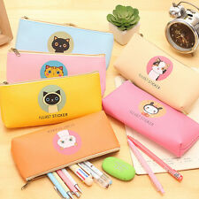 Cartoon Cat Student Pencil Pen Case Box Makeup Pouch Pocket Brush Holder Bag bv