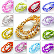 hot Colors 200pcs Rondelle Faceted Crystal Glass Loose Spacer Beads DIY 4mm