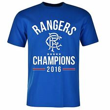 Glasgow Rangers FC Champions T-Shirt Mens Blue Football Soccer Top Tee