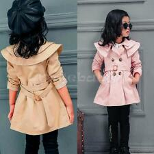 Girls Kids Trench Coat Wind Jackets Dress Clothes Costume Autumn Winter Outwear