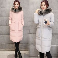 Womens Ladies Long Winter Raccoon Wool Collar Hooded Warm Down Coat Jacket L~3XL