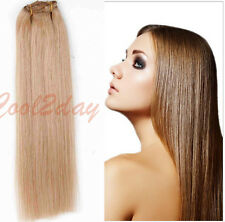 """Hot Real Weft Full Head Remy Human Hair Extensions Clip in weft 15""""-24"""" 70G-110G"""