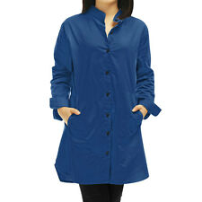Women Stand Collar Long Sleeves Single Breasted Tunic Trench Coat