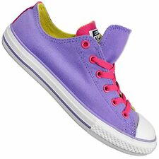 Converse All Star Chuck Taylor Double Tongue Ox Shoes Purple Pink Trainers