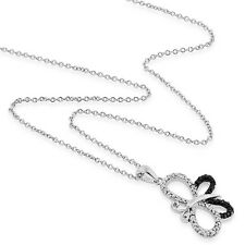Enhanced Black & Natural White Diamond Butterfly Pendant in Sterling Silver -18""
