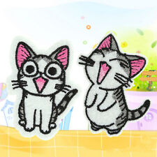 Sweet Twin Cat DIY Embroidery Cloth Iron On Patch Sew Motif Applique x2PC Lovely
