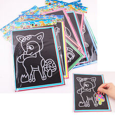 Colorful Scratch Art Paper Magic Painting Paper with Drawing Stick Kids Toy QW