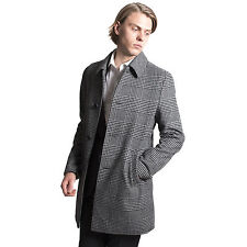 Harry Brown Heritage Prince of Wales Check Black White Overcoat 36-44 537062421