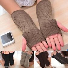 HX Womens Mens Winter Long Knitted Crochet Fingerless Braided Arm Warmer Gloves