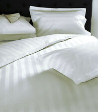 1000TC Egyptian Cotton 1pc FITTED SHEET Pearl White Stripes