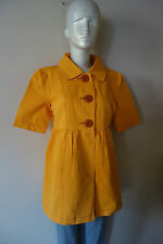 ANTROPOLOGIE TULLE Cotton Short Sleeve Jacket Sz M, XL Mustard Yellow Retro NWT