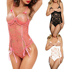 Sexy Underwire Open Cup Lace Teddy Babydoll Lingerie 2014 Size S M L
