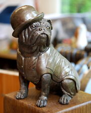 BRONZE BRITISH BULL DOG with UNION JACK WAISTCOAT SCULPTURE FIGURINE
