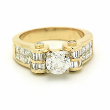 EGL Certified Vintage Style Diamond Ring 3.13 Ct Princess Baguette & Round Cut