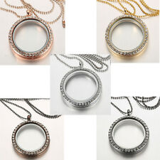 Living Memory Floating Charm Crystal Glass Locket Pendant Necklace Jewellery New