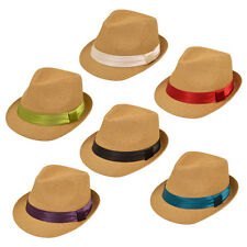 Classic One Size Tan Fedora Straw Hat w/ Ribbon Band - Diff Color Band Avail