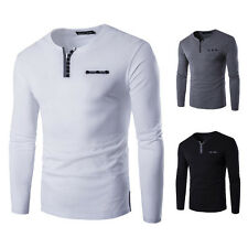 Korean Men's Fashion Casual Long Sleeve V-Neck Buttons Decorated Placket T-Shirt