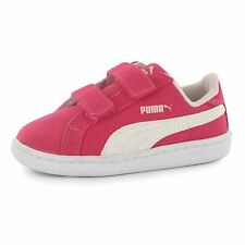 Puma Smash Fun Canvas Trainers Infants Rose Red/White Baby Sneakers Shoes