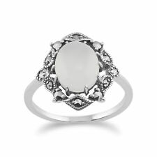 925 Sterling Silver Art Nouveau Moonstone & Marcasite Ring