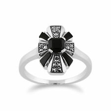 Gemondo 925 Sterling Silver Art Deco Black Onyx & Marcasite Ring