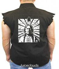 Native American Denim Vest Sitting Bull Indian Chief Feathers Tribe Biker Wear
