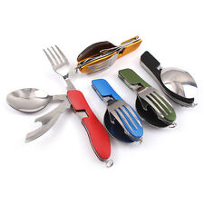 Outdoor Travel Camping Folding Utensil Stainless Pocket Spoon Knife Fork
