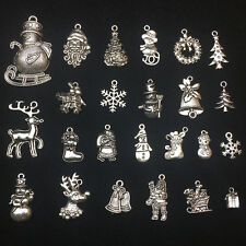 Lot Tibet Silver Christmas Tree Santa Claus Deer Charm Pendants Jewelry Findings