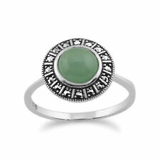 925 Sterling Silver Art Deco 1.44ct Dyed Green Jade & Marcasite Ring