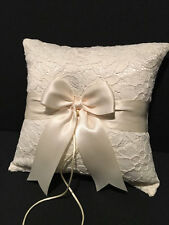 White or Ivory Lace Accent Wedding Ring Bearer Pillow