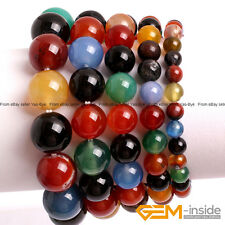 """Handmade Natural Multi-Color Agate Beaded Stretchy Bracelet 7"""" XMAS Jewelry Gift"""