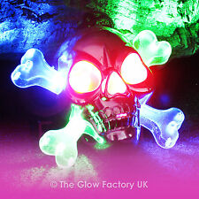 Flashing Pirate Necklaces LED Glow Skull Crossed-Bones Jolly Roger Necklace