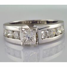 GIA Princess Cut and Round Shape Engagement Ring 2.46 Carat Diamond Channel Set