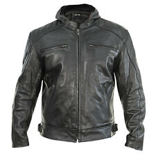 Xelement 913 Mens Throttle Armored Black Leather Motorcycle Jacket W/ Hoodie