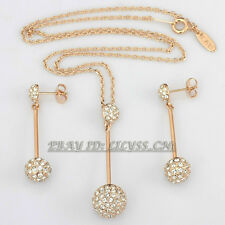 B1-S3038 Fashion CZ Shamballa Necklace Earrings Jewelry Set 18KGP Crystal