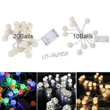 LED String Fairy Lights Battery Operated Xmas Party Rattan Light Room Decor