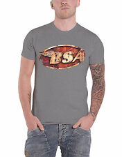 BSA T Shirt British Motorbike Vintage Classic Logo Official Mens New Grey
