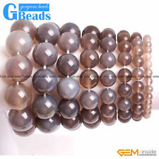Handmade Jewelry Natural Gray Agate Beaded Stretchy Bracelet Free Shipping 7""