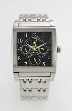 U S Army Gray Mens Stainless Steel Silver Day Date 24hr 50m Quartz Battery Watch