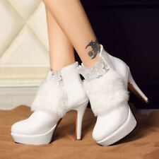 Sexy Women Fur Stiletto High Heels Ankle Boot Leather Lace Platform Shoes Size
